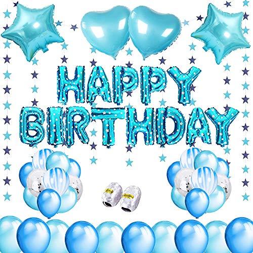 Geburtstagsdeko für Jungen und Mädchen, Deko Geburtstag Junge und Mädchen, Geburtstagsdeko Blau und Rosegold (blau)