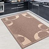 Tapiso FLOORLUX Teppich Flachgewebe Strapazierfähig Sisal Optik Braun Beige Abstrakt Kreise Muster Bordüre Designer Küche Wohnzimmer 120 x 170 cm