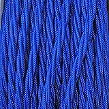 Elektrokabel 2 x oder 3 x 10 m geflochten aus Stoff Farbe Blau - 3 x 0,75 mm