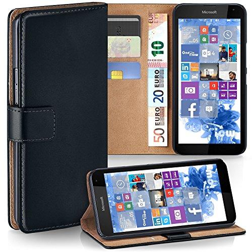 moex Microsoft Lumia 535 | Hülle Schwarz mit Karten-Fach 360° Book Klapp-Hülle Handytasche Kunst-Leder Handyhülle für Nokia Lumia 535 Case Flip Cover Schutzhülle Tasche
