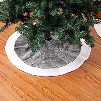 ADESHOP 3D Christmas Tree Decorations, Xmas Gifts For Kids, Christmas Embroidery Tree Skirt Short Plush Christmas Tree Decoration Mat 6