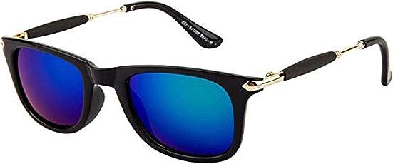 Y&S Mercury Mirror Reflector Wayfarer Unisex Sunglasses with Golden Stick(Blue-Stick-Wayfarer-Single-02| Black)
