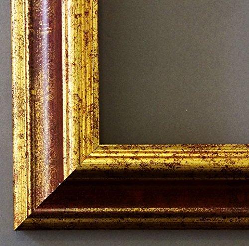 Online Galerie Bingold Holz - Bilderrahmen Bari Rot Gold 4,2 - Din A4 (21,0x29,7cm) - WRF mit Normalglas - 100 Größen