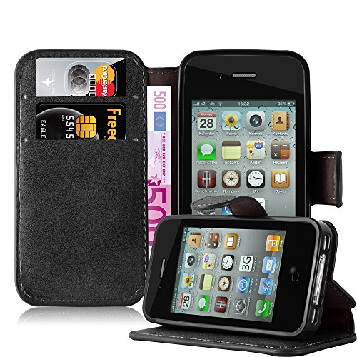 Cadorabo Coque pour Apple iPhone 4 / iPhone 4S, Noir Mat Design Retro Housse de Protection Portefeuille Etui Case Cover pour Apple iPhone 4 / 4S - Stand Horizontal et Fente pour Carte Poche Folio