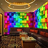 Fushoulu Bunte 3D Stereo Cube Tapeten Für Nachtclub Haus Dekor Ktv Wohnzimmer Tapete Benutzerdefinierte Größe Wandbild Vliestapete-120X100Cm