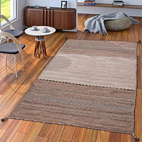 TT Home Handwebteppich Wohnzimmer Natur Webteppich Kelim Modern Baumwolle Streifen Beige, Größe:60x110 cm