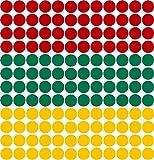Kleberio® 1200 Klebepunkte (400 Stück je Farbe) 5mm aus PVC-Spezialfolie von ORAFOL selbstklebend glänzend Farben: rot/grün/gelb Markierungspunkte Außenbereich