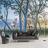 Tapeten 3D Europäischen Stil Wald Big Tree Elch Ölgemälde Schlafzimmer Wohnzimmer Sofa Tv Hintergrund Tapete Wandbild, 260X180 Cm (102,36X70,87 In)