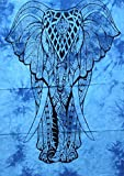 Blue Elephant Indian Wall Hanging Cotton Boho Tapestry Poster Size Décor Throw 42 x 30 Inches (Posters (12))