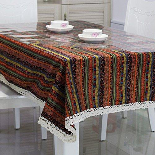 Jhxena Pvc-Tischdecke Aus Baumwolle Und Leinen Tischdecke Tuch Und Transparente Soft Glas Kit, Red Stripe 80 * 140 Cm