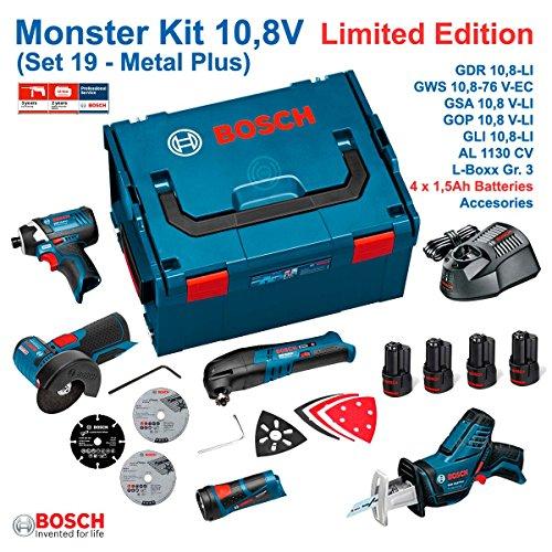 Preisvergleich Produktbild BOSCH MONSTER KIT 10,8V - SET 19 METAL-PLUS: GDR 10,8-LI + GWS 10,8-76 V-EC + GSA 10,8 V-LI + GOP 10,8 V-LI + GLI 10,8 V-LI (4 Batterien x 1,5 Ah + Ladegerät AL1130CV + Zubehör GOP 10,8 V-LI + Zubehör GWS 10,8-76 V-EC + Koffer L-Boxx 238)