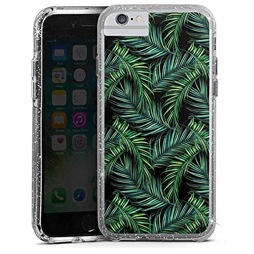 Apple iPhone 7 Plus Bumper Hülle Bumper Case Glitzer Hülle Palmen Dschungel Natur Bumper Case Glitzer silber