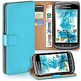 moex Samsung Galaxy Xcover 2 | Hülle Türkis mit Karten-Fach 360° Book Klapp-Hülle Handytasche Kunst-Leder Handyhülle für Samsung Galaxy Xcover 2 Case Flip Cover Schutzhülle Tasche