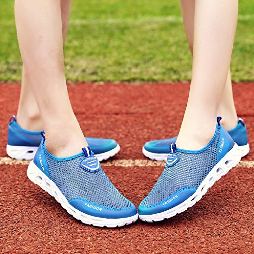 Eagsouni® Unisex Mesh Sneaker Leichte Atmungsaktive Turnschuh Laufschuhe AquaSchuhe Weichsohlen Walkingschuhe #1Blau