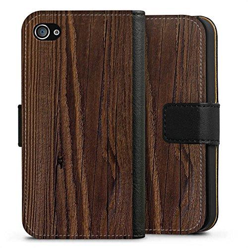 Apple iPhone X Silikon Hülle Case Schutzhülle Holz Look Maserung Sideflip Tasche schwarz