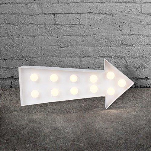 sass & belle LED Pfeil Lampe Leuchte Wandlampe Metall weiß Leuchte Wandleuchte Pfeillampe