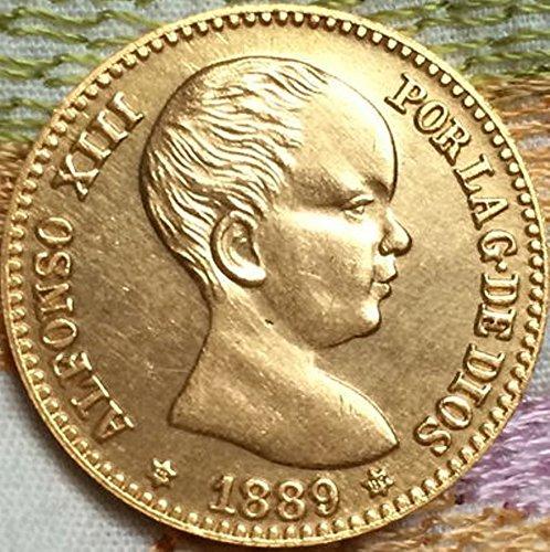Bespoke Souvenirs Rare Antique Ancient European 1889 Spain 20 Pesetas Coin Seltene Münze -