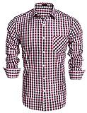 Burlady Herren Hemd Kariert Hemden Langarmhemd Karo Shirt Business Hochzeit Freizeit Slim Fit Bügelleicht Rot M