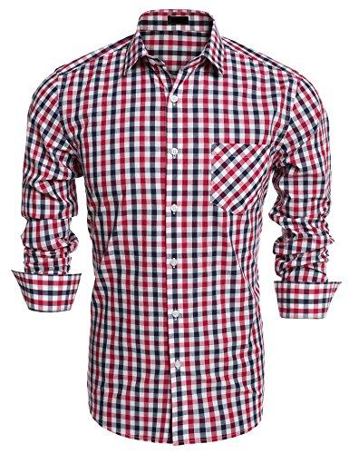 Rot-kariertes Button-down-shirt (Burlady Herren Hemd Slim Fit Langarm Kariert Freizeit Hemd Baumwolle Button-Down Check Shirt Rot XL)