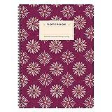 Etmamu 461 - Block notes con 60 fogli bianchi in formato A4, decorazioni con motivo floreale, colore viola