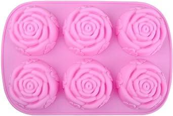 MoGist 6 Gitter Silikon Rose Blume Kuchen Formen Handgemachte Seife Formen DIY Backformen Schokolade Formen Modellierwerkzeug