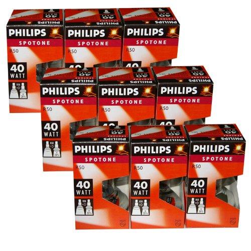 Preisvergleich Produktbild 9 x Philips Reflektor Glühbirne Spotone R50 40W 40 Watt Glühlampe E14 Reflektorlampe