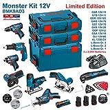 BOSCH Kit 12V BMK9AD3 (GSR 12V-15 + GTB 12V-11 + GDR 12V-105 + GWS 12V-76 + GST 12V-70 + GKS 12V-26 + GOP 12V-LI + GSA 12V-14 + GLI 12V-80 + 3 x 2,0Ah + AL1230CV + L-Boxx 238 + L-Boxx 136 + L-Boxx 102)