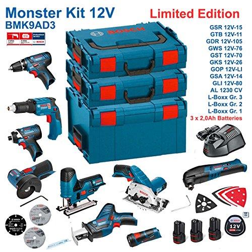 Preisvergleich Produktbild BOSCH Kit 12V BMK9AD3 (GSR 12V-15 + GTB 12V-11 + GDR 12V-105 + GWS 12V-76 + GST 12V-70 + GKS 12V-26 + GOP 12V-LI + GSA 12V-14 + GLI 12V-80 + 3 x 2,0Ah + AL1230CV + L-Boxx 238 + L-Boxx 136 + L-Boxx 102)