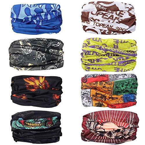 Moliker headwear Bandanas tapa de protección UV transparente Multi-función Estirable Cuello Cuello Tubo Bufanda Mascarilla Cinta bajo el casco (1004)