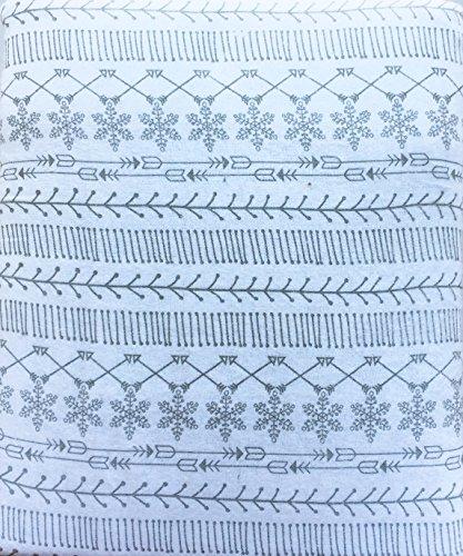 Nate & Nat 4Stück Baumwolle Flanell Full Größe Doppelbett Blatt Set Grau Geometrische Nordic Muster Schneeflocken Pfeile Linien auf Weiß -