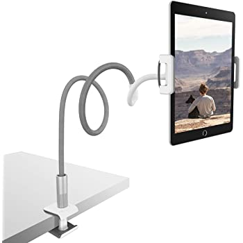 "Lamicall Gooseneck Tablet Holder, Universal Stand : 360 Flexible Lazy Arm Holder Clamp Mount Bracket Bed Compatible with 4.7~10.5"" Pad Air Pro mini, Phone Xs Max XR X 8, Nintendo Switch more - Gray"