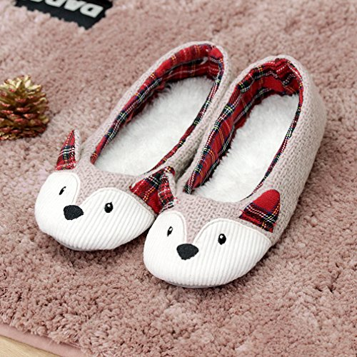 caramella bubble knitted animal slippers women fleece fox slippers