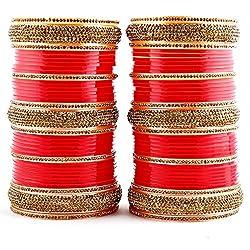 Lucky Jewellery Red Bridal Punjabi Chudas , Wedding Churas Set Size Of 2.10