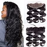 Maxine Free Part Ear to Ear 13x4' Lace Frontal Closure with Baby Hair Brazilian Virgin Human Hair Body Wave Full Lace Frontal Clsoures Bleached Knots 20 inches Natural Color