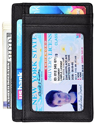a78c3bb9f9a9 Minimalist Wallet Slim Front Pocket Wallet Leather Card Holder RFID  Blocking (Vegetable tanning Black)