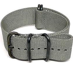 DaLuca Ballistic Nylon NATO Watch Strap - Grey (PVD Buckle) : 20mm