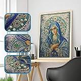 LijunMimo Diamant Malerei 5D Diamond Painting Kits Stickerei Speziell geformt Gemälde Strass Eingefügt Jungfrau Maria DIY Wandbilder Tapete Dekoration 30x40cm