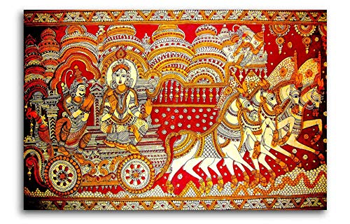 Tamatina Madhubani Canvas Paintings - Krishna with Arjun - Krishna Paintings - Traditional Art Paintings - Paintings for Home Décor - Paintings for Bedroom - Paintings for Living Room - Religious Canvas Paintings - Madhubani Paintings for wall