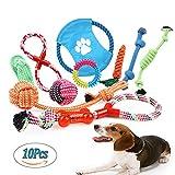 Juguetes de Cuerda para Perros 10 Piezas de Algodón Cuerda Juguete para Cachorros Incluyendo Pelota de Cuerda