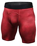Hombre Compresión Shorts Tights Secado Rápido Pantalones Cortos De Fitness Rojo L
