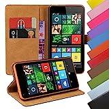 EximMobile - Book Case Handyhülle für Nokia Lumia 625 mit Kartenfächer in Schwarz | Schutzhülle aus Kunstleder | Handytasche als Flip Case Cover | Handy Tasche | Etui Hülle Kunstledertasche