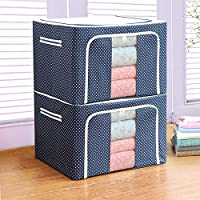Bestllin Collapsible Storage Bin - Foldable Stackable Storage Box, Cube with Handles, Double Zipper and Clear Windows - for Clothes, Blanket or Toys, Household Items Organizer (Brown)