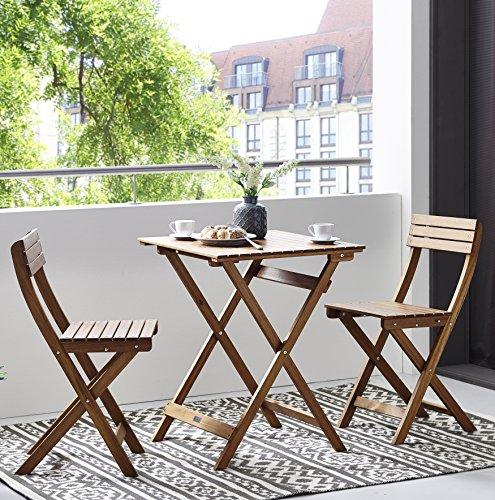 SAM 3-tlg. Balkongruppe Balterup, Sitzgruppe aus Akazienholz, 1 Tisch + 2 Stühle, klappbar, FSC...
