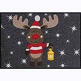 Salonloewe Fußmatte Home waschbar anthrazit grau Elch Rudi 50x75 cm Weihnachtsdeko Weihnachtsfussmatte Schmutzfangmatte