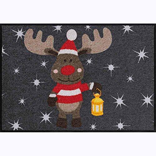 Salonloewe Fußmatte waschbar anthrazit Motiv Elch Rudi grau Schmutzfangmatte 50x75 cm Weihnachten