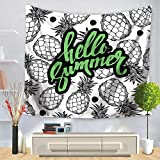 X&Y Home Tapestry Green Leaves Geometry Letter Printing Wall Hanging Beach Towel , 150*210cm , d