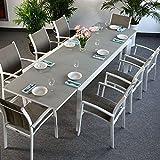 Violet Tisch mit 8 Georgia Stühlen - WEIß & CHAMPAGNERFARBEN | großer ausziehbarer Esstisch 300cm