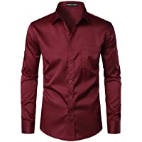 PARKLEES Men's Urban Stylish Casual Business Slim Fit Long Sleeve Button Up Dress Shirt with Pocket
