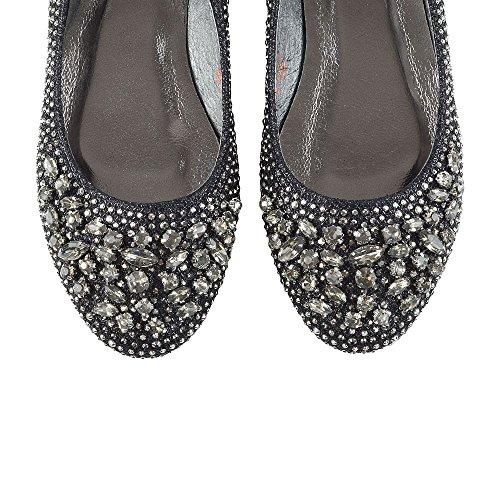 ESSEX GLAM Donna Nuziale Diamante Glitter Ballerina Scarpa Nero Glitter