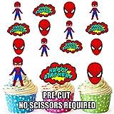 Vorgeschnittene Spiderman Superheld Geburtstag Packung - Essbare Cupcake Topper / Kuchendekorationen (12 Stück)